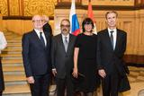 Voir la photo - Diplomatic Reception at the Historical MuseumFrom left to right:  H.E. Mr. Serge Telle, Minister of State, Mr. Gérard Pettiti, H.E. Ms. Mireille Pettiti, Ambassador of Monaco to the Russian Federation and Mr. Gilles Tonelli, Minister of Foreign Affairs and Cooperation.